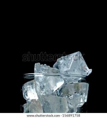Ice cubes in glass (close up)