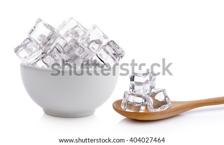 ice cubes in the bowl and wood spoon on white background - stock photo