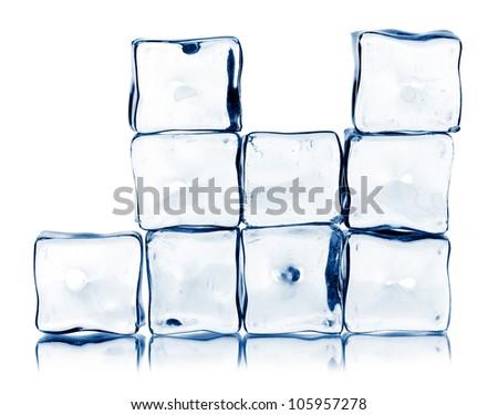 ice cubes isolated on a white backgtound - stock photo