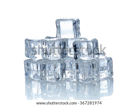 Ice cubes isolated on the white background.