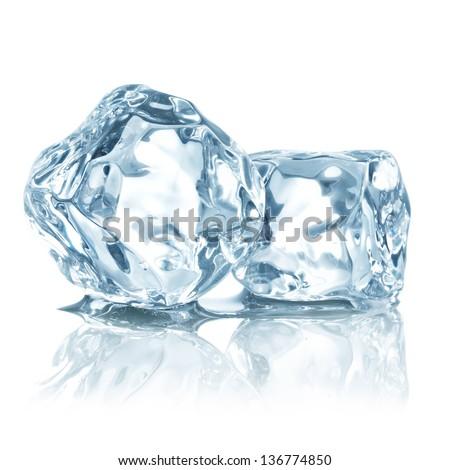 ice cubes isolated on white - stock photo