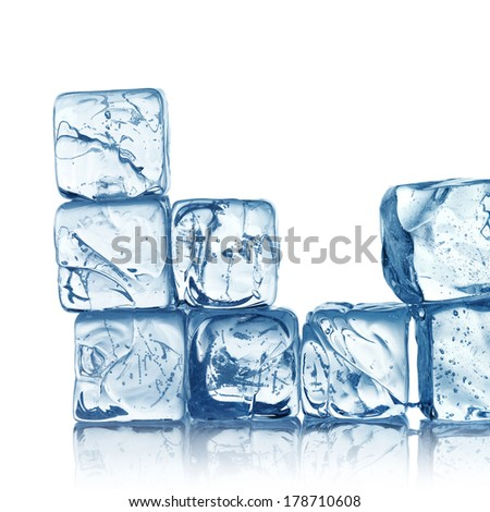 ice cubes isolated on white