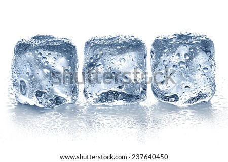 Ice cubes isolated on white. - stock photo