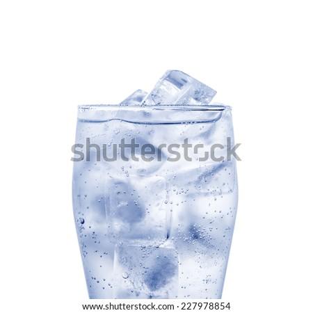 ice cubes isolated on white background - stock photo