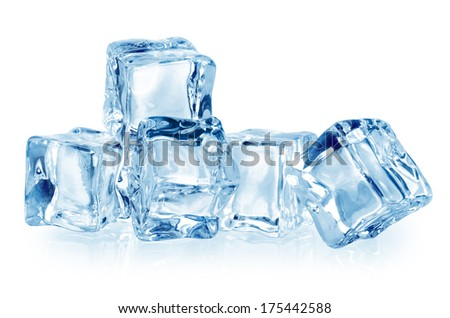 Ice cubes isolated on white. With clipping path - stock photo