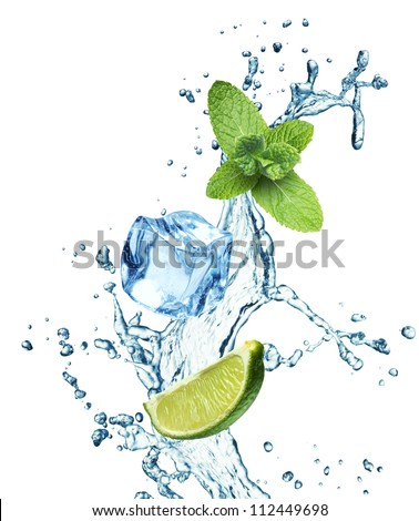 Ice cubes, mint leaves, lime and water splash on a white background - stock photo