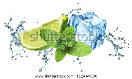 Ice cubes, mint leaves, water splash and lime on a white background - stock photo
