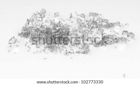 Ice cubes on a white background - stock photo