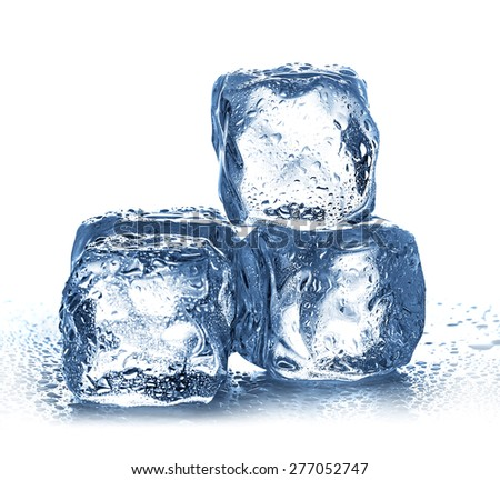 Ice cubes on white