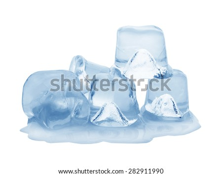 ice cubes on white background. Clipping pats. - stock photo
