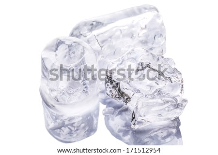 Ice cubes over white background