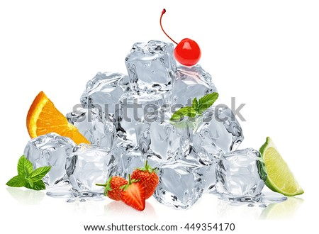 Ice cubes pile with fresh fruits on white background