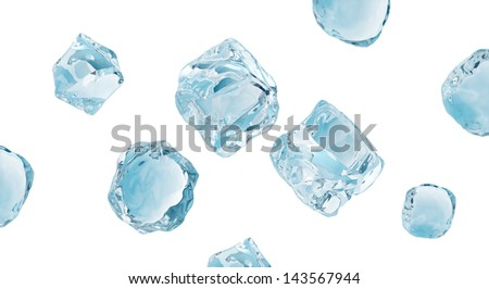 ice cubes set, frozen water elements collection isolated on white - stock photo
