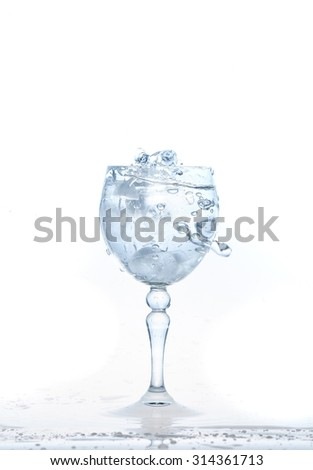Ice cubes splashing into glass of water, water splashing from ice cubes being dropped in a glass.
