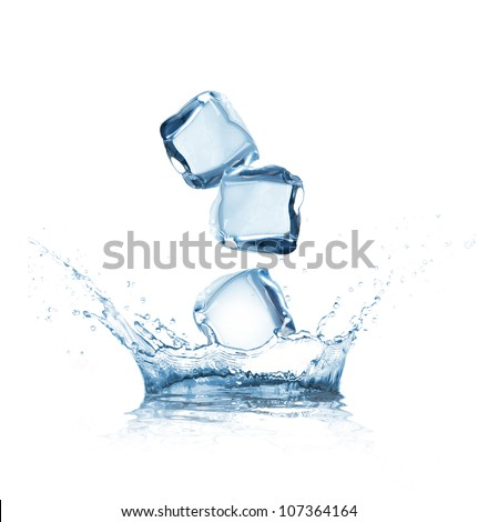 Ice cubes splashing into water over white - stock photo