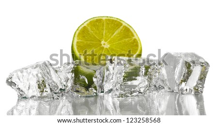 Ice cubes with lime isolated on white - stock photo