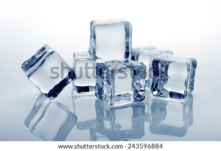 Ice cubes with reflection, close-up - stock photo