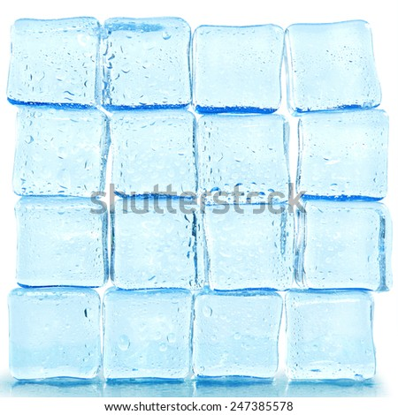 ice cubes with water drops isolated on white background - stock photo