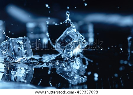 ice cubes with water splash - stock photo