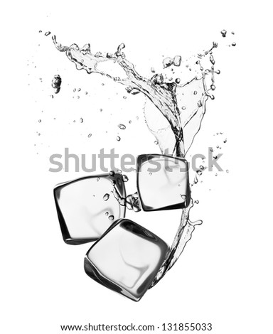 Ice cubes with water splash, isolated on white background