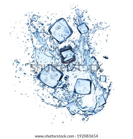 ice cubes with water splashes isolated on white background - stock photo