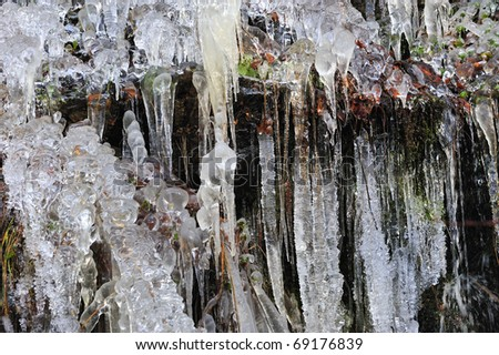 Ice fall background from the river,rock and branches