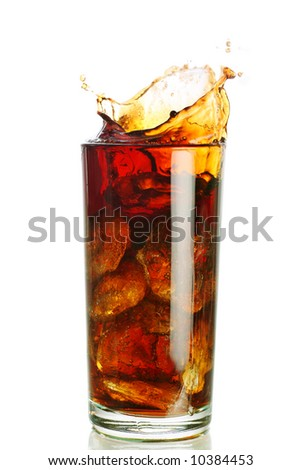 ice filled carbonated soft drink with a splash