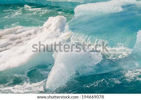 Ice floating on Jokulsarlon Ice lagoon - stock photo