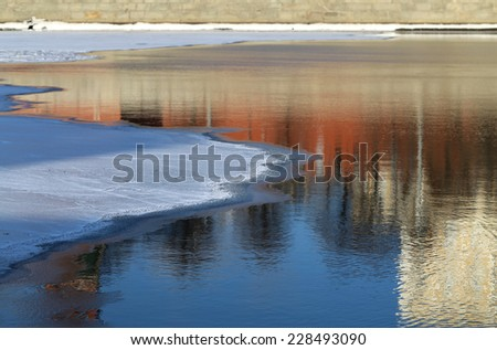 Ice floating on the river in winter Moscow in Russia - stock photo