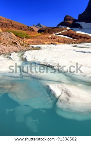 Ice floats in melting water of the Grinnell Glacier in Glacier National Park of Montana - stock photo