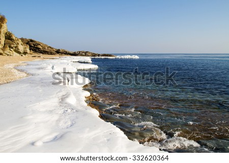 Ice Floe, Icy shore of the sea,  North sea, cold sea of the North, winter ice, white snow of the Arctic, Arctic ocean, beautiful nature. Beach at the winter ocean. Spring Arctic. Melting of ice - stock photo