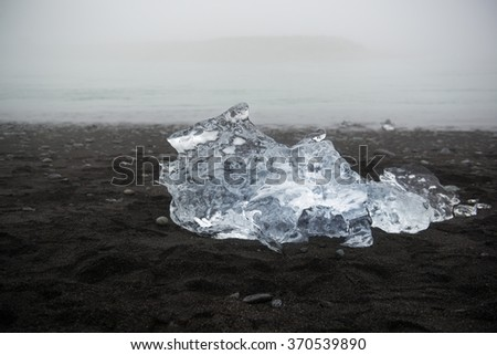 Ice floe on the volcanic black sand beach, Iceland