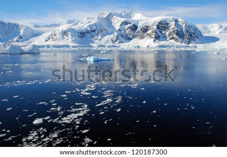 ice floes in antarctica - stock photo