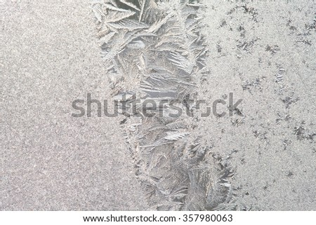 Ice flowers and frozen window macro view. Frost texture pattern. cold winter weather xmas background concept.