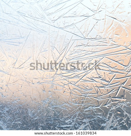Ice flowers. Frost flowers. Window frost. Winter in the window. Frozen window. - stock photo