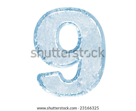 Ice font. Number nine.With clipping path.