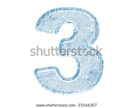 Ice font. Number three.With clipping path.