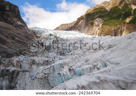 Ice Formations and Massive Cliffs on the Fox Glacier, South Island of New Zealand - stock photo