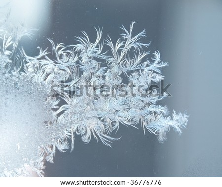 Ice-Frosting Pattern on a Window - stock photo