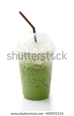 Ice green tea in takeaway cup isolated on white background - stock photo