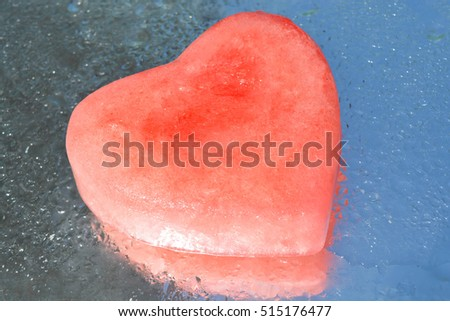 ice, heart, reflection