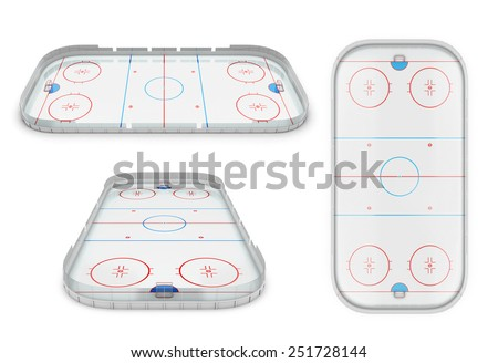 Ice hockey area different of view. 3d illustration. - stock photo