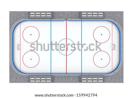 Ice Hockey Field Isolated - stock photo