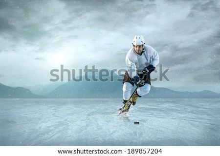 Ice hockey player on the ice.