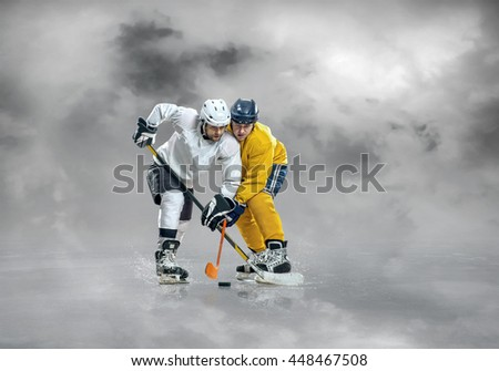 Ice hockey players in action.