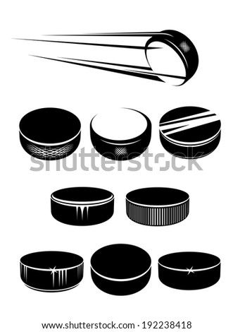 Ice hockey pucks set isolated on white background for sports design. Vector version also available in gallery - stock photo