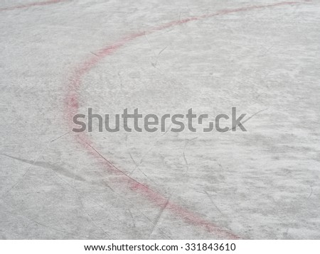 Ice hockey rink red markings closeup, winter sport background - stock photo