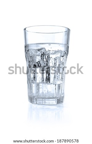 ice in glass and water  - stock photo