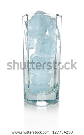 ice in glass isolated a white background