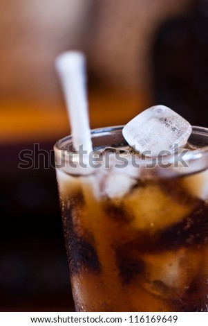 ice in glass of cola